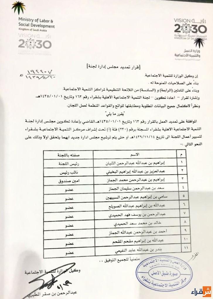 التمديد لأعضاء لجنة التنمية الإجتماعية الأهلية بشقراء