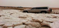 أمطار غزيرة على محافظة شقراء و صور لكميات البرد الكثيفة التي سقطت شمالها