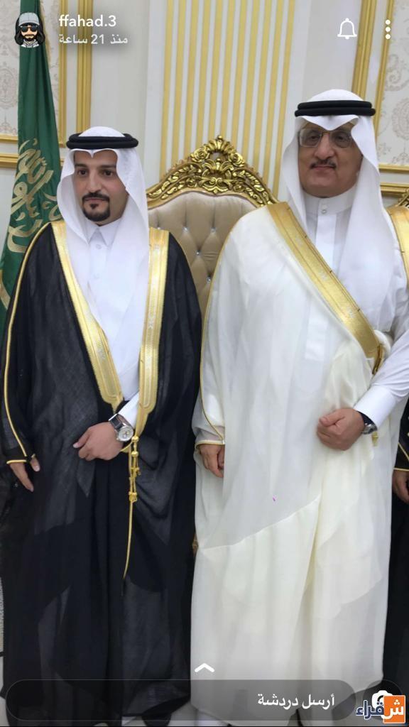 العريس معاذ الخريجي مع سعادة محافظ شقراء الاستاذ عادل البواردي